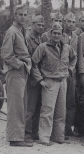 Masters, at right, during the filming of Guadalcanal Diary in 1943, shortly before his transfer out of the battalion.