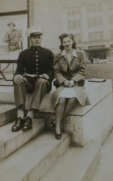 Carl and his girlfriend, Dottie, on the steps of the Kanawha County Library. Photo courtesy of Carl Caldwell.