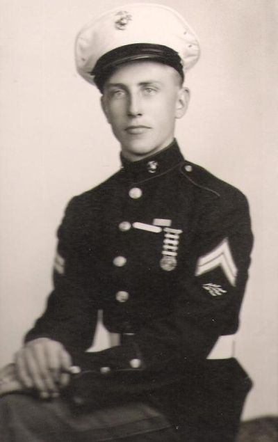 "Corporal Culp in his dress blues. The striker below his chevrons are ""sparks,"" indicating his proficiency with radios."
