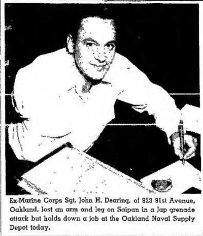 John Dearing was featured in a series of articles about disabled veterans following the war. This image appeared in the Oakland Tribune on 8 October, 1946.