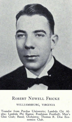 A dapper Robert Fricke at The College of William & Mary, 1939.