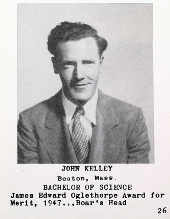 Kelley interrupted his work at Oglethorpe University to enter the Marine Corps. He returned to graduate with the class of 1947, and taught chemistry at his alma mater.