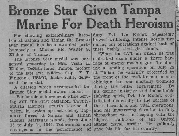 PFC Kildow's posthumous Bronze Star was reported in this Ohio newspaper.