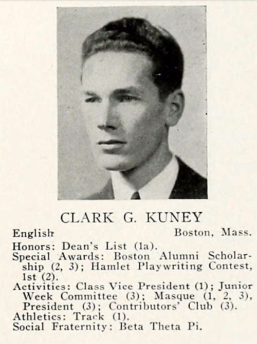 Clark Kuney at the University of Maine, 1940. A talented dramatist, he presided over the school's experimental theater program.