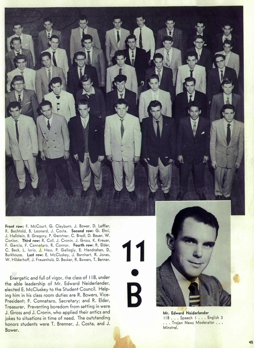 """Mr. Neiderlander"" and his class at North Catholic High School, Pittsburgh, 1956."