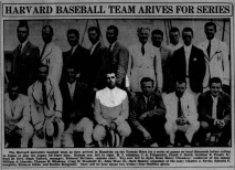 Prouty's first tour of the Pacific came not as a Marine, but as a collegiate baseball player. In 1934, the Harvard team spent two weeks training in Hawaii before traveling on to compete in Japan. Photo from the Honolulu Star-Bulletin, 23 July 1934.