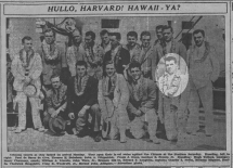 Decked out in leis for the Honolulu Advertiser, 25 July 1934.