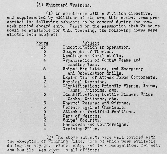 Training plan for the Fourth Marine Division en route to Operation Flintlock.