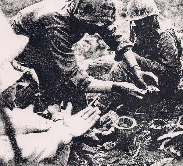 Swoyer serves up turkey and pineapple on Iwo Jima.