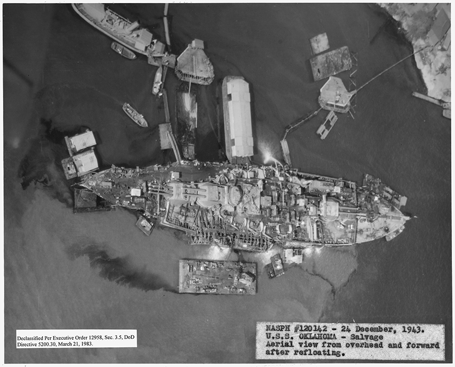 The USS Oklahoma was among the ships being salvaged when 1/24 arrived in Pearl Harbor. Even after two years, the ship is still leaking a tremendous amount of oil.