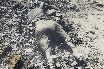 A dead Japanese soldier, probably on Iwo Jima.