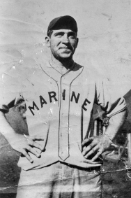 Danny Collins sports a Marine Corps baseball jersey.