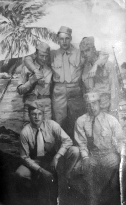 "Dom (kneeling at right) with a few buddies in May, 1944. ""Woodman, Trembly, Turk, Toskin, Tutalo"" may have been with the 3rd Provisional Marine Detachment at Camp Maui."