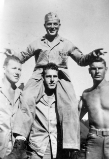 Russell Chambers gets a ride from Tim Hartigan, the better to tease Art Stanek and Ray Butler. Stanek and Hartigan were wounded on Iwo Jima; Chambers and Butler were killed.