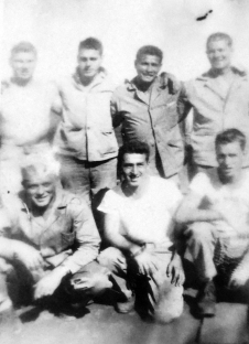 A&D men at Camp Maui before Iwo Jima. Standing: Ray Butler (KIA), Tim Hartigan, Harry Koff, Arnold Stanek (WIA). Kneeling: Russell Chambers (KIA), Tutalo, Harlan Jeffery (WIA)