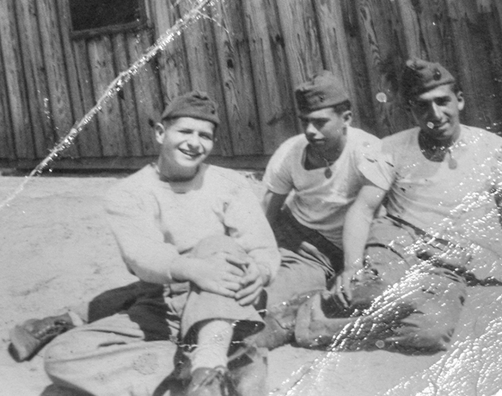Dom Tutalo (at right) with some buddies at Parris Island, 1943.