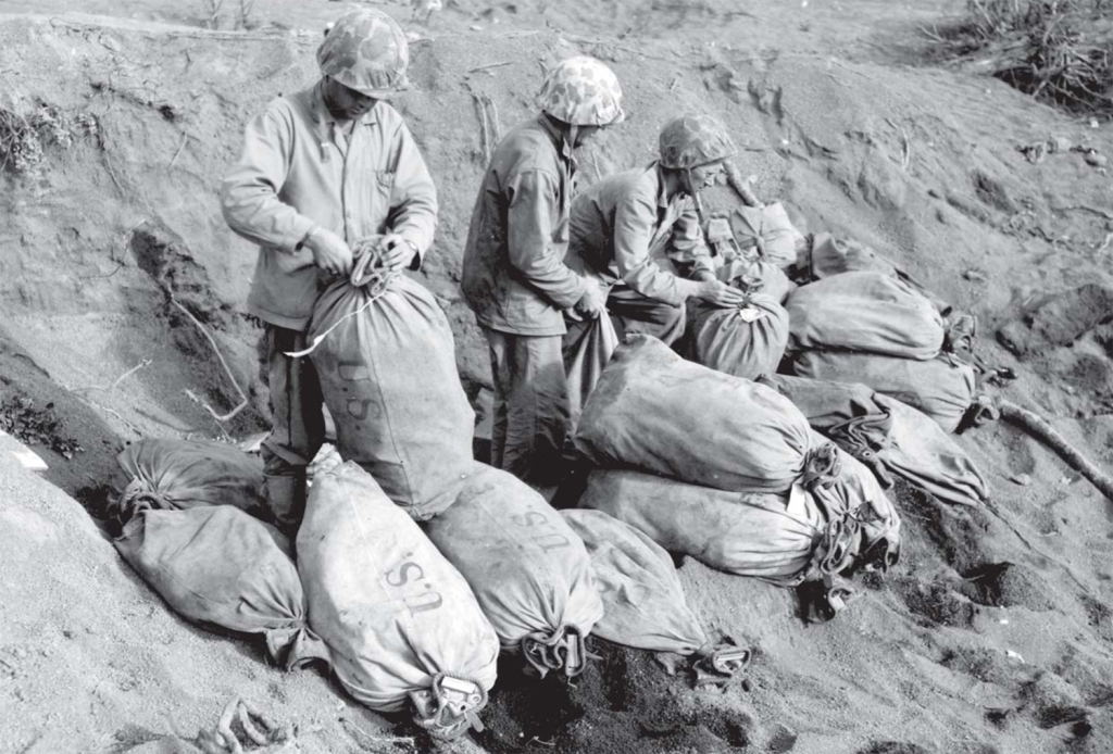 Mail arrives on Iwo Jima. USMC photo.