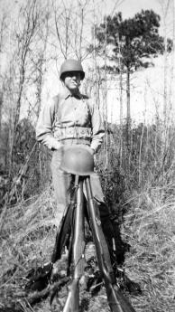 Parcheta takes his smoke break. Although Pope, Pramberger, and Parcheta were heavy machine gunners, their field training centered around their personal weapons – M1 Garand rifles.