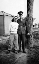 """John Pope with James Pritchett, another Georgia boy, at New River. Pritchett, tall and rather ungainly, was nicknamed """"Shuffler."""""""