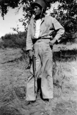 Chuck Podolski in the field. He has traded his M1 rifle for the more portable M1 carbine.