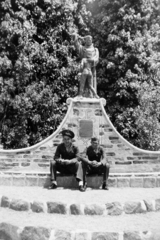 A tourist trip to Mission San Juan Capistrano. Pictured are Steve Navara, Bernie Novak, and San Juan himself.