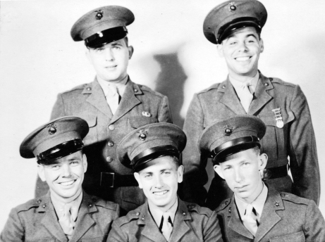 Five buddies on their way to war. Pinkerton and Nobile in the rear row; Pope, Rainey, and Pritchett in the front. (Pinkerton's paratrooper wings are a mystery.)