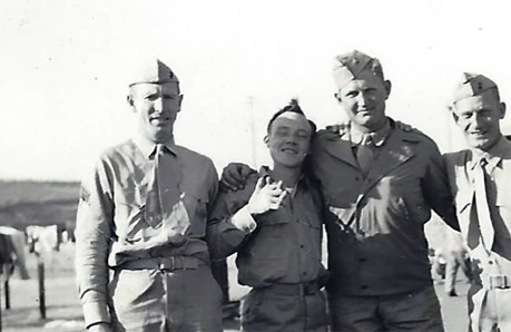 "At Camp Pendleton, ""M. Naha, Offer, Barr and Stewart."" Charles Barr and Robert Stewart were C Company marines. Offer was a corpsman. The sergeant, ""Naha,"" is unknown."