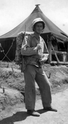 "Curly Klauss in full field gear, Camp Maui. Note the distinctive ""411"" UNIS mark on his canteen."