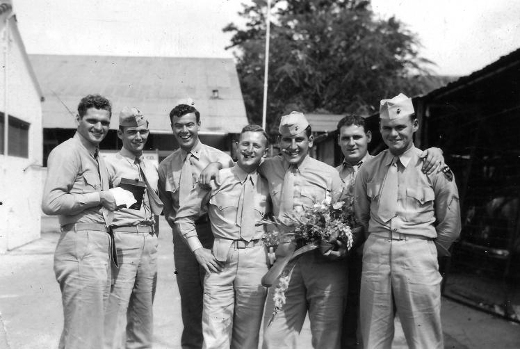"""Taken at Vans Restaurant on Beretania Street, Honolulu. Sgt. Deaton, Lt. Billzraus, Pl.Sgt. O'Donnel, Trebel, Fred Bianzarti, Bill Smith, Bob Yingling."""
