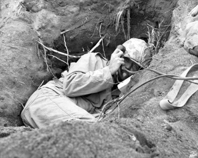 The face of a man under mortar fire, captured by Joe Rosenthal.