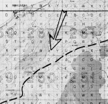 On 5 July 1944, A/1/24 moved from jump off positions in 250M-S to 261X. The dotted line represents the border between the 4th Marine Division (of whom A/1/24 was left flank) and the 27th Infantry Division.