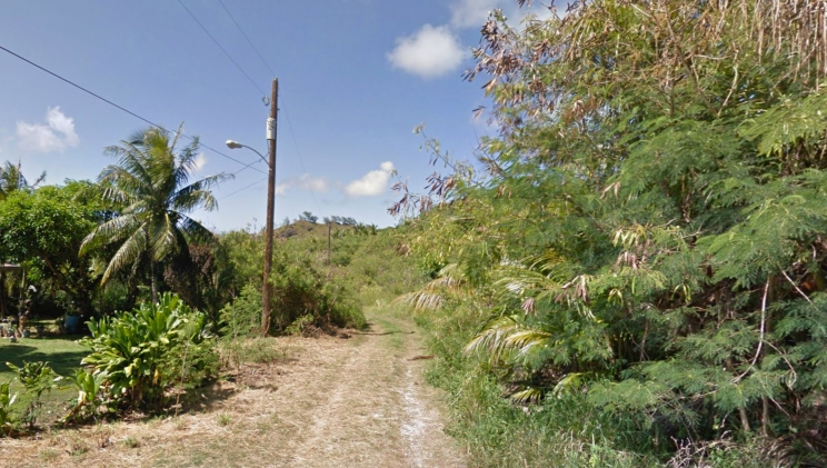 Saipan's Route 316 peters out into a trail leading to Hill 767. Photo from Google Maps, 2017.