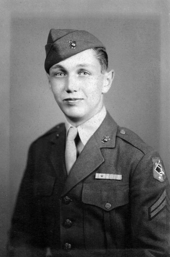 Corporal Kline. His shoulder patch denotes service with an IMAC defense battalion.