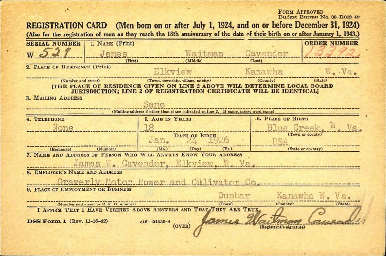 James Cavender's selective service registration card, completed when he turned 18 in 1944.