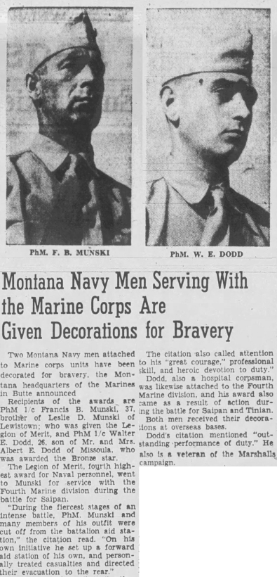 The Montana Standard, 4 March 1945. Munski and Dodd served together in 1/24.