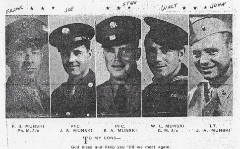The five Munski brothers in uniform, c. 1944. Unknown Lewiston newspaper, found on Ancestry.com