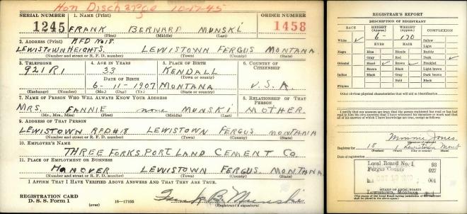 Frank Munski's Selective Service card, 1940
