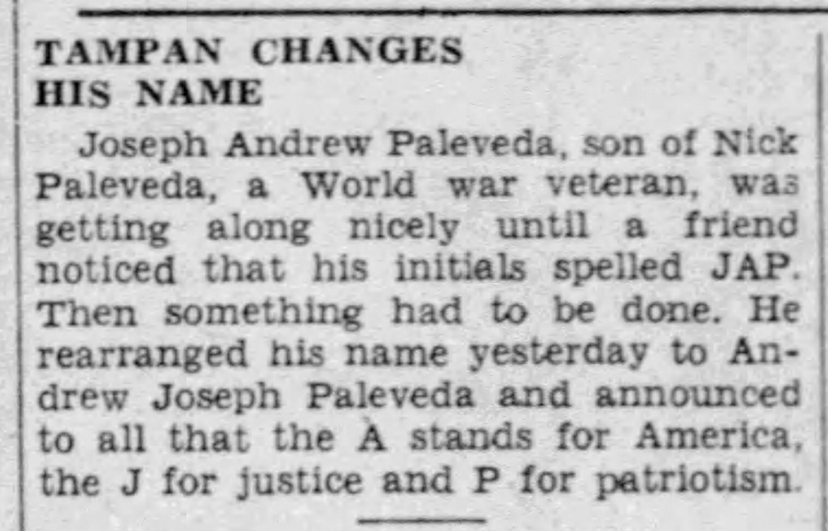 The Tampa Tribune, 2 March 1942.