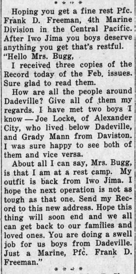 The Dadeville Record, 10 May 1945.