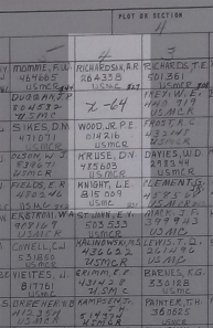 Detail from a burial chart for the 4th Marine Division Cemetery, Saipan.