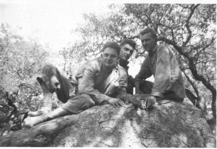 Joe Hines (right) with two buddies. Man in the middle is possibly the field music, Charlie Buck.