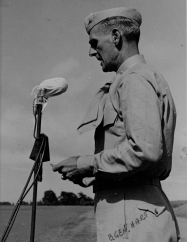 Brigadier General Hart reads some remarks. Originally the CO of the 24th Marines, Hart became the assistant division commander in 1945.