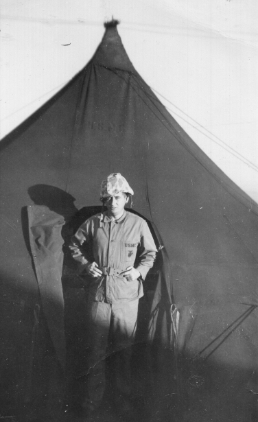 Major Arthur Hanson, the regimental intelligence officer, at Camp Maui.