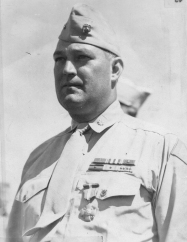 Brunelli after receiving his Navy Cross. He was authorized to wear four campaign stars, presumably because he was briefly present on Guadalcanal during the battle.