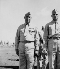 Lieutenant Colonel Brunelli with the Navy Cross awarded for Iwo Jima.