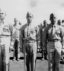Veteran officers receive new decorations for Iwo Jima. From left, a Legion of Merit and two Silver Stars.