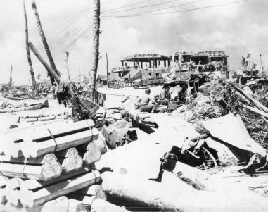 Scenes of devastation on Roi-Namur, following the battle of 1-2 February 1944.