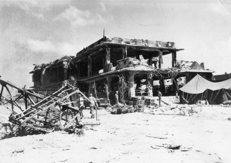 A wrecked Japanese building became a Marine headquarters.