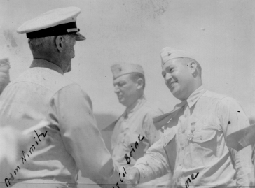 Brunelli receives his Legion of Merit from Admiral Nimitz.