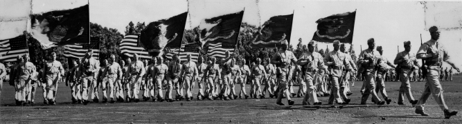 Marines on parade, 1945.